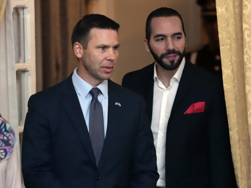 Acting U.S. Homeland Security Secretary Kevin McAleenan (left) and Salvadoran President Nayib Bukele attend a meeting in San Salvador, El Salvador, in August.