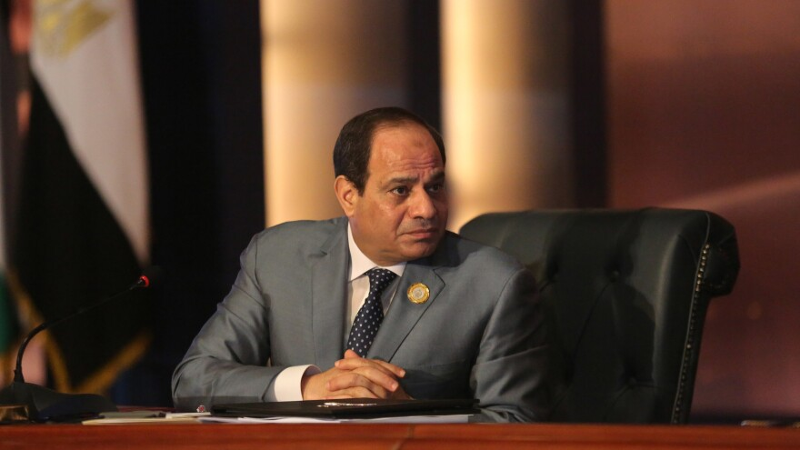 Egyptian President Abdel-Fattah el-Sissi leads an Arab foreign ministers meeting in 2015. Sissi's widely expected victory in the March 26-28 polls is seen both as an endorsement by many Egyptians of his hard-line security policies and economic aims, and the effective crushing by state security institutions of almost all dissent.