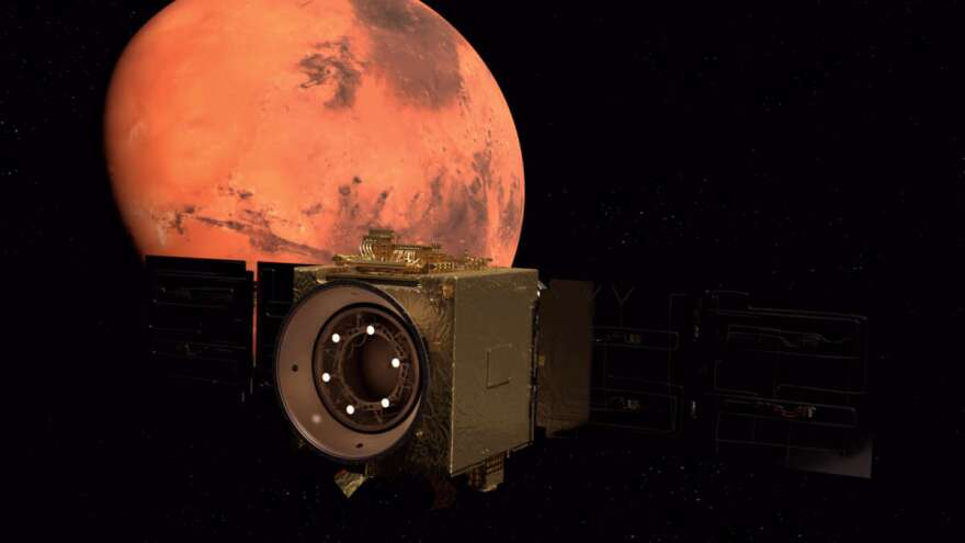 UAE's Hope orbiter arrived at Mars Tuesday, the country's first mission to the red planet. Photo: UAE.