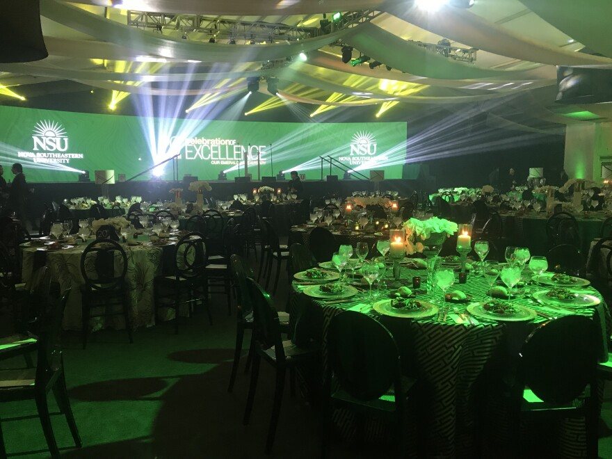 NSU installed a temporary building for the invitation-only ceremony. The cost per plate was $275.
