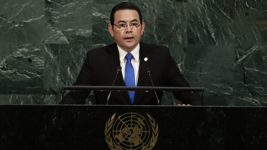 Guatemala's President Jimmy Morales addresses the United Nations General Assembly on Sept. 19, 2017, at the United Nations headquarters.