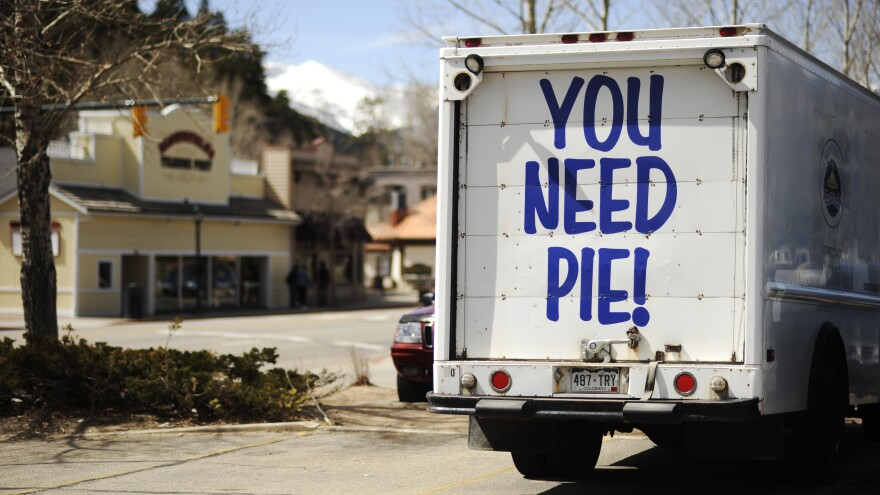 The delivery truck for Estes Park Pie Shop Bakery & Diner in Colorado conveys a pointed message that might make mincemeat out of your appetite control.