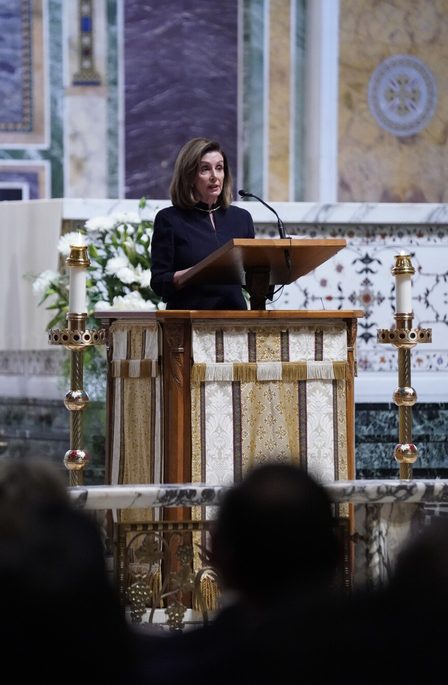 Speaker of the House Nancy Pelosi delivered a eulogy at Cokie Roberts funeral mass.