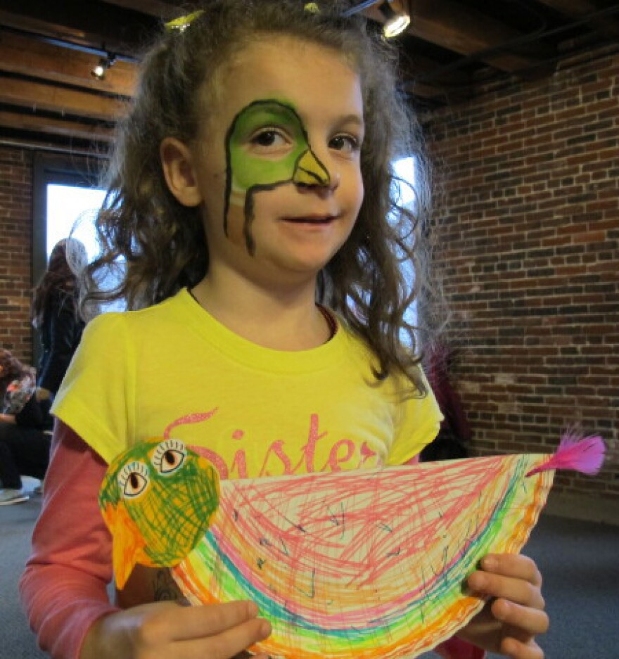 """""""I love baby ducks,"""" says Grace Miller, 6, who celebrated the 75th anniversary of McCloskey's book at the Make Way for Ducklings Bookstore in Faneuil Hall in Boston."""