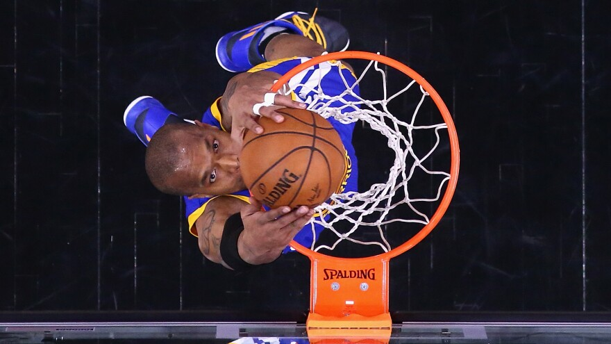 David West of the Golden State Warriors dunks in the first half of Game Four of the 2017 NBA Western Conference Finals.