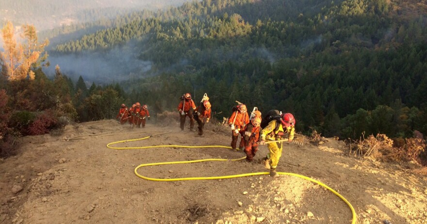 Photo of a team of firefighters climbing a slope as smoke rises from a forest behind them.