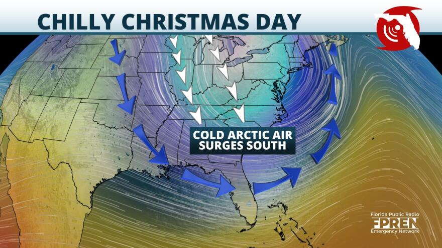 Jet stream to dip south delivering a blast of cold arctic air for Christmas Day