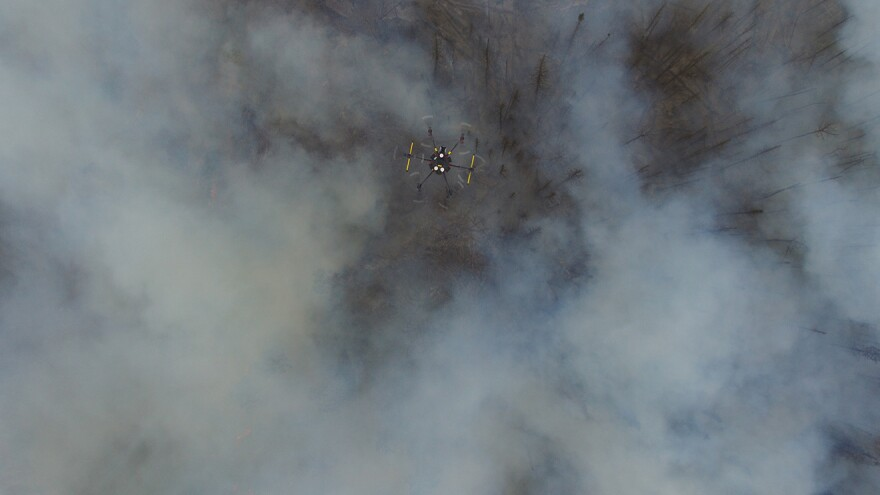 Drones are increasingly being used to study the effects of wildfires. This drone is collecting data from a large prescribed burn earlier this year at the Fishlake National Forest in Utah.
