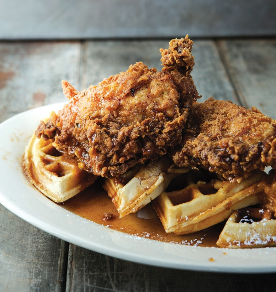 Mamacitas Ancho Fried Chicken & Waffles from Atomic Cowboy