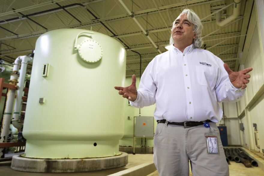 Des Moines Water Works CEO and general manager Bill Stowe stands in the Nitrate Removal Facility at the Water Works treatment plant.