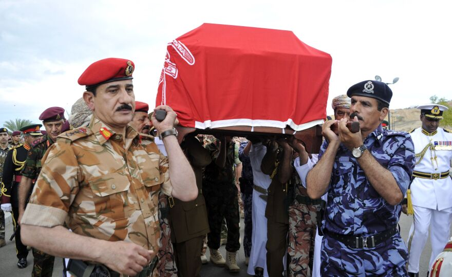 High-ranking military officers carry the coffin of Oman Sultan Qaboos bin Said, who died at the age of 79. The late sultan oversaw the country's development for nearly half a century. He was succeeded by former Culture Minister Haitham bin Tariq Al Said, who was sworn in Saturday.