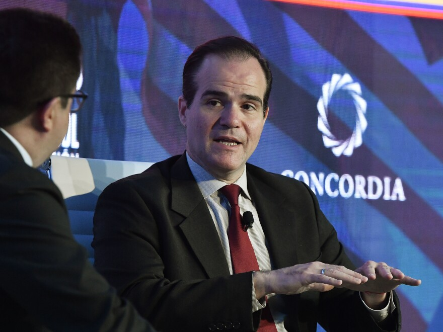 Mauricio Claver-Carone, nominated to head the Inter-American Development Bank, speaks with Ricardo Ospina of Caracol TV at the 2019 Concordia Americas Summit in Bogotá, Colombia.