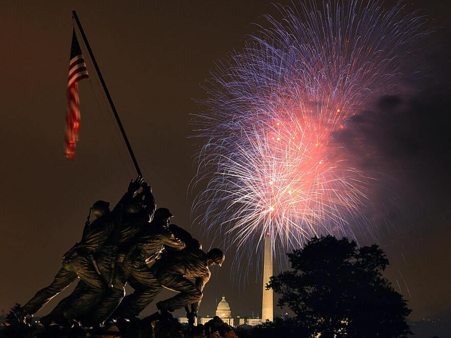 """Fireworks over the National Mall in Washington, D.C., on July 4, 2008. Photo taken from hear the <a href=""""http://www.nps.gov/gwmp/marinecorpswarmemorial.htm"""">U.S. Marine Corps War Memorial</a> in Arlington, Va."""