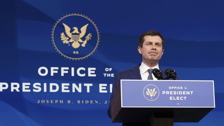 Pete Buttigieg speaks after he was nominated to be Transportation Secretary by then-President-elect Joe Biden during a news conference on Dec. 16, 2020, in Wilmington, Del. Buttigieg faced a largely friendly reception at his Senate confirmation hearing on Thursday.