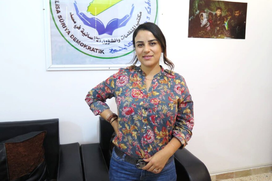"Zozan Alloush is the co-chair of development and humanitarian affairs in the Syrian Democratic Council. ""I'm a women's rights activist, and I don't like seeing women all the time as victims. But in this case, most of them really are victims,"" she says."