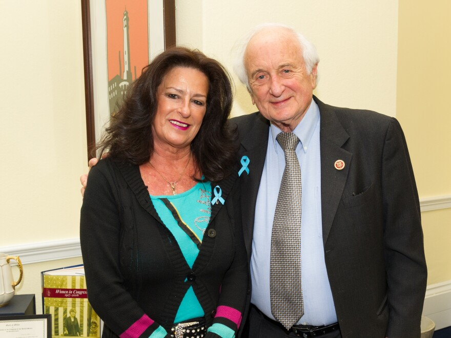 "Josie Maisano poses with her congressman, Democrat Sander Levin of Michigan. Levin says if Congress can't respond to people like Maisano, ""we've failed."""