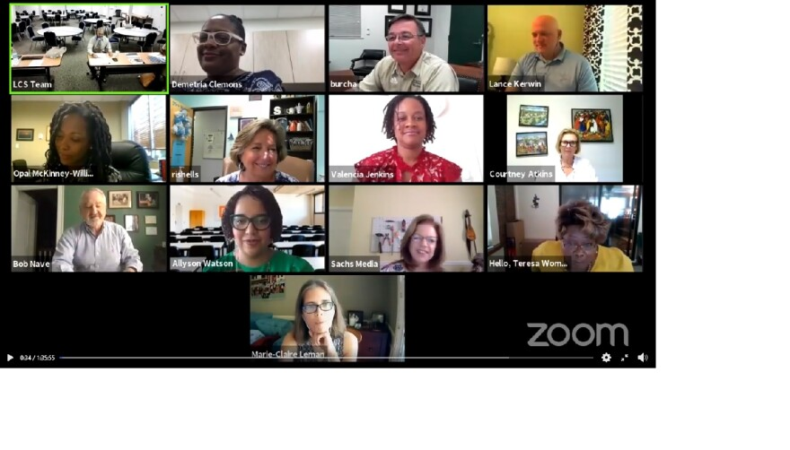 Members are seen via video from each location on the Zoom platform