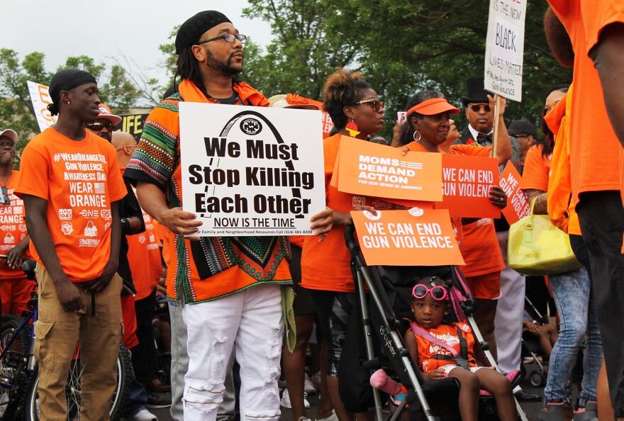 Demonstrators marched north along Grand Avenue in the JeffVanderLou neighborhood on June 2, 2018 to call more attention to issues of gun violence.