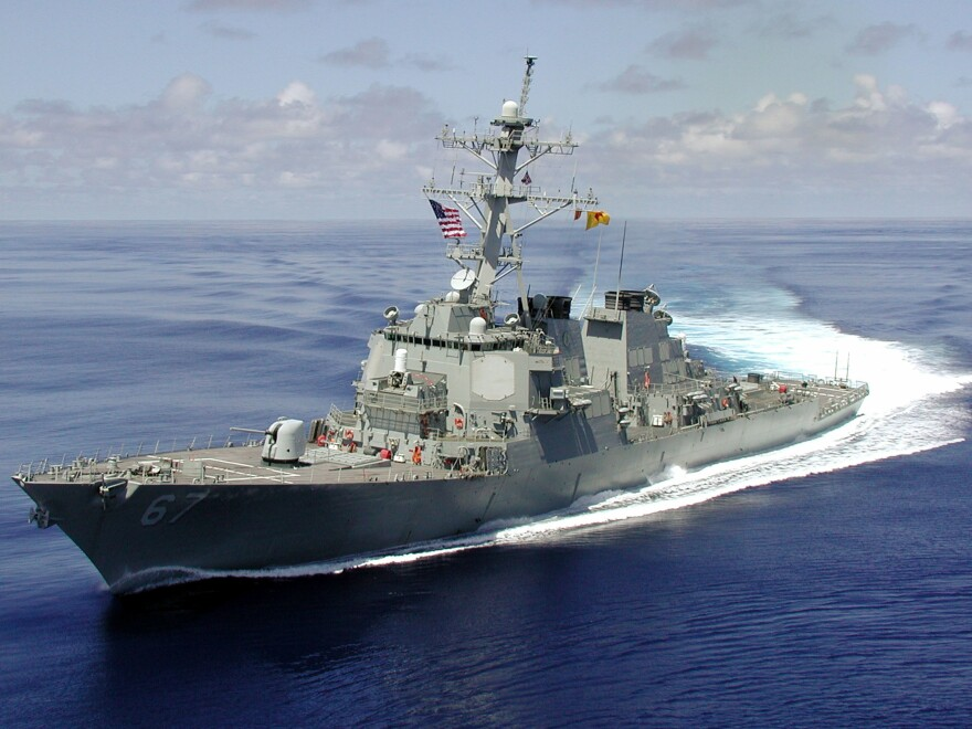 The USS Cole approximately one month before being attacked by an al-Qaida suicide mission, which killed 17 American sailors in the port of Aden, Yemen.