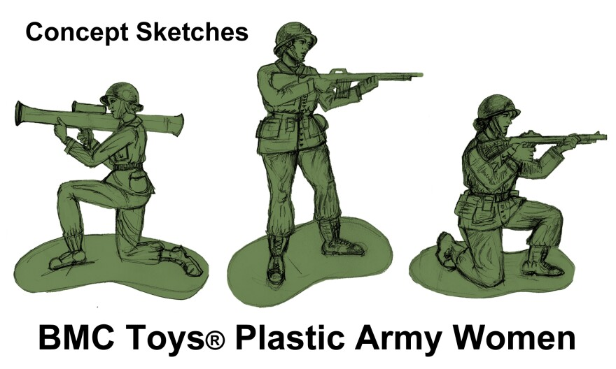 Artist sketches depicting prototypes of some of the poses that are planned to be among a new fleet of plastic army women by BMC Toys.