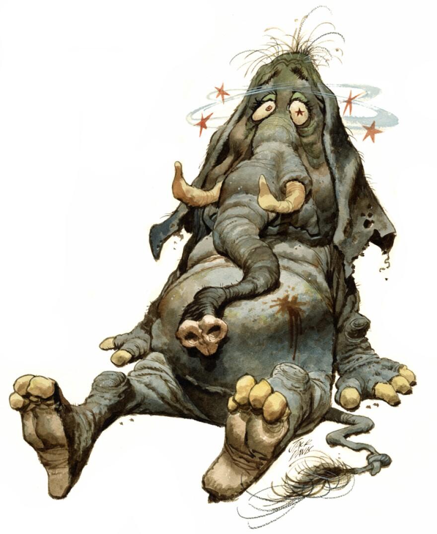 Cartoon of GOP elephant after a knockout.