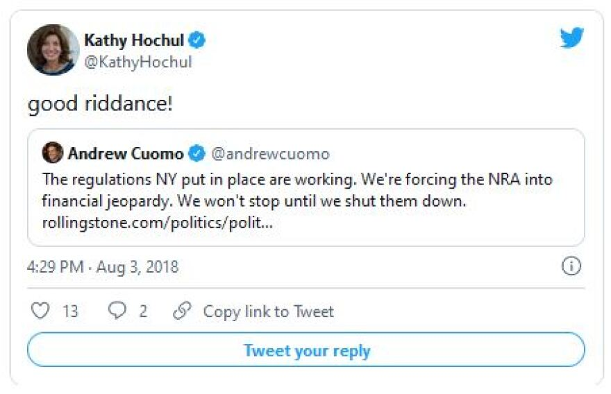 """A tweet from Kathy Hochul, saying """"good riddance!"""" to the NRA"""