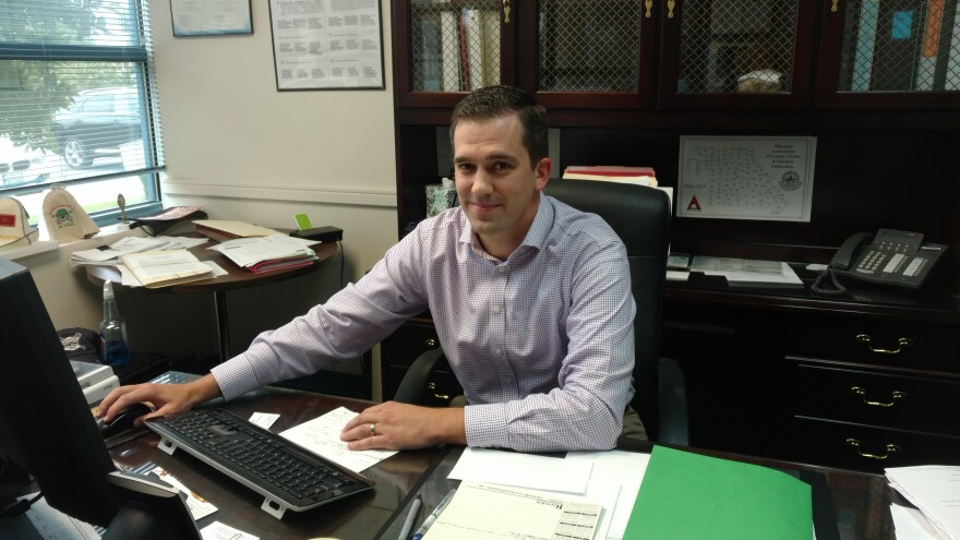 Eric Fey in his office at the St. Louis County Election Board