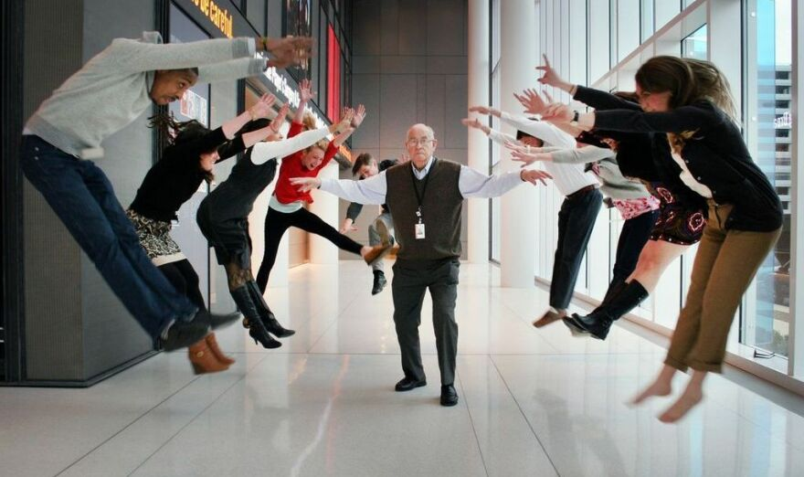 Kasell unleashes his powers in the lobby of NPR's headquarters in Washington, D.C.