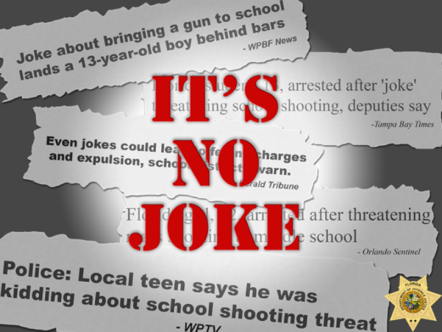 "The words ""it's no joke"" are printed over newspaper clipping about arrests being made for school threats."