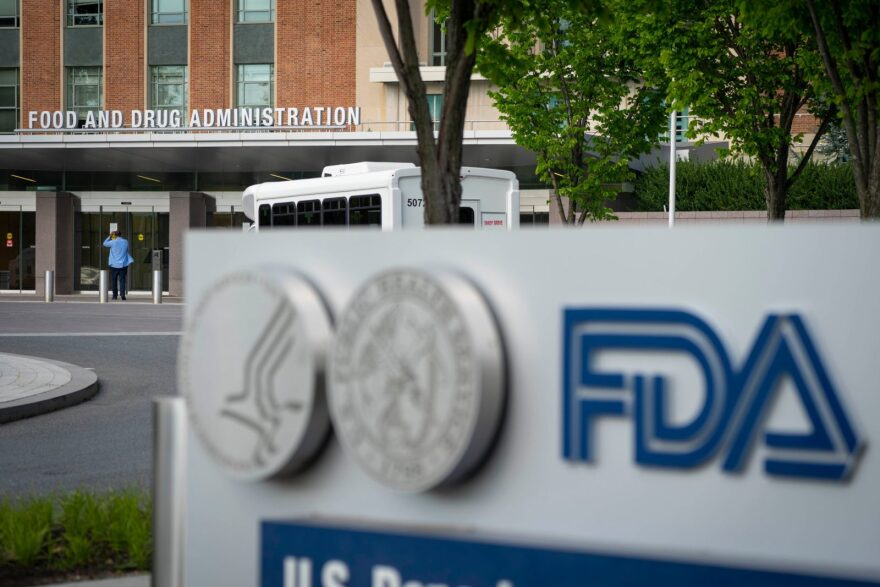 A sign for the Food And Drug Administration is seen outside of the headquarters on in White Oak, Maryland.