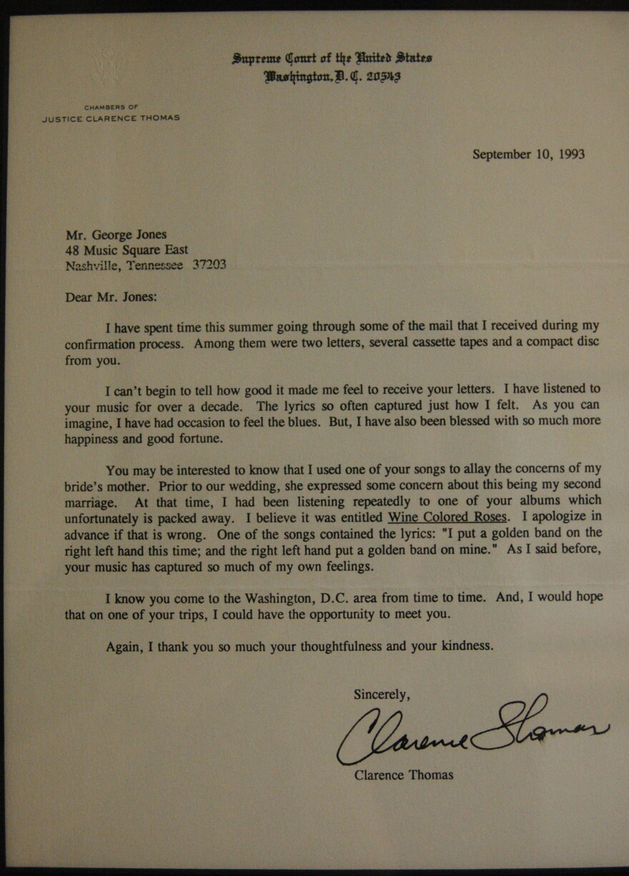 A framed letter, written from Supreme Court Justice Clarence Thomas to country superstar George Jones in 1993.