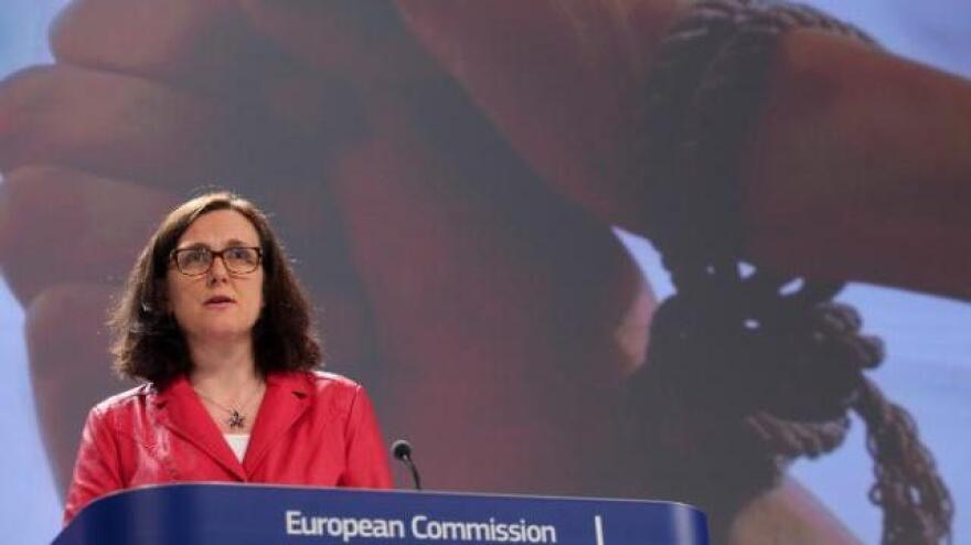 "EU Home Affairs Commissioner Cecilia Malmström said Monday that ""trafficking in human beings is all around us, closer than we think."""