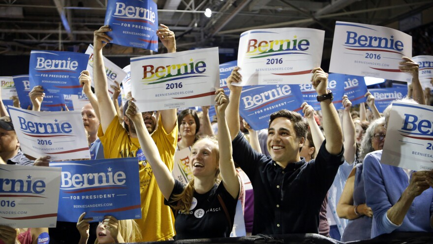 Sanders supporters cheer at a campaign rally in Portland, Maine, on July 6, 2015. The Vermont senator started drawing big crowds around this time, including an estimated 10,000 people in Madison, Wis.