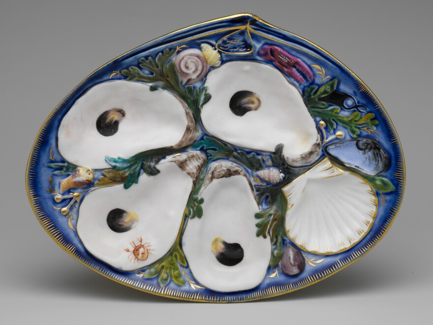 Oyster plate, made by Union Porcelain Works, is on display at The Met Fifth Avenue in Gallery 706.