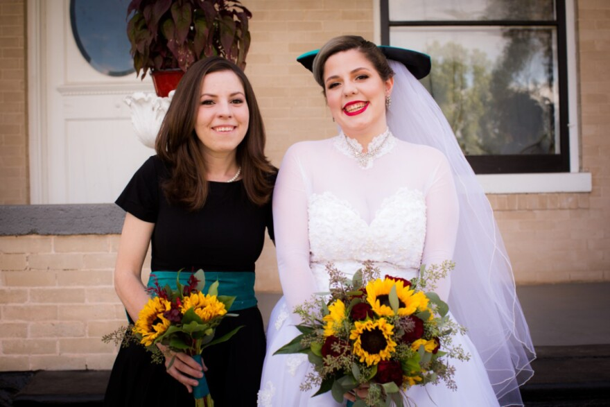 Sara Wittner (left) and her sister Grace Sekera on Sekera's wedding day. Wittner began using narcotics again after the COVID-19 pandemic dismantled elements of her sobriety support system. On the Thursday after Easter, Sekera discovered her sister's body