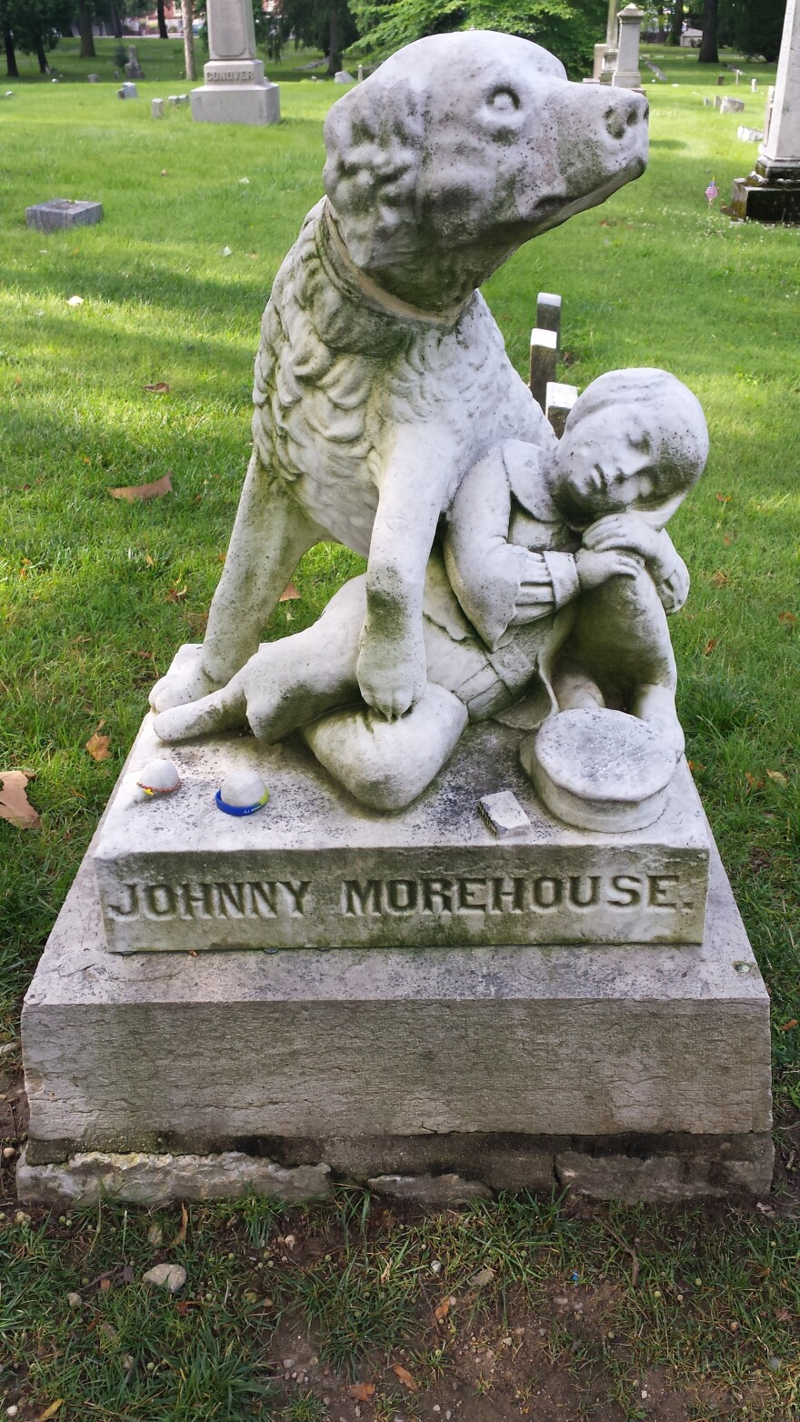 Johnny Morehouse's monument is one of the most iconic at Woodland Cemetery