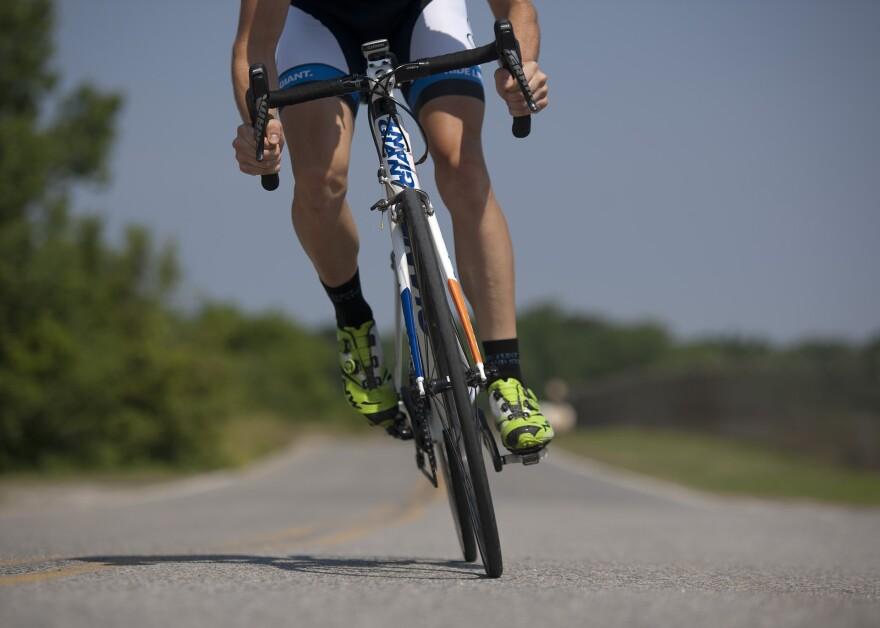 Photo of a person riding a bike