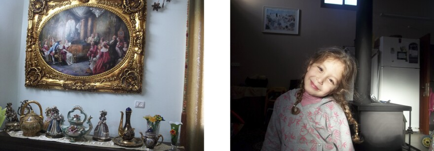 Left: <em>In My Uncle Mansour's House</em> (photograph by Hiba), 2013, Right: <em>Untitled</em> (photograph by Nada), 2013.