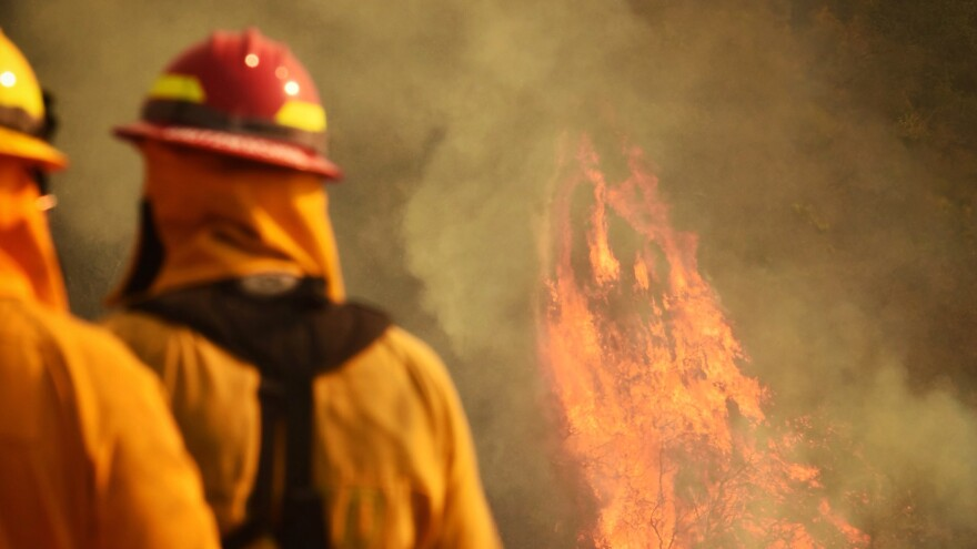 Firefighters in Santa Barbara County, Calif., on Wednesday. A firefighter whose name has not been released was killed Thursday while battling the massive Thomas Fire, which straddles Santa Barbara and Ventura counties.