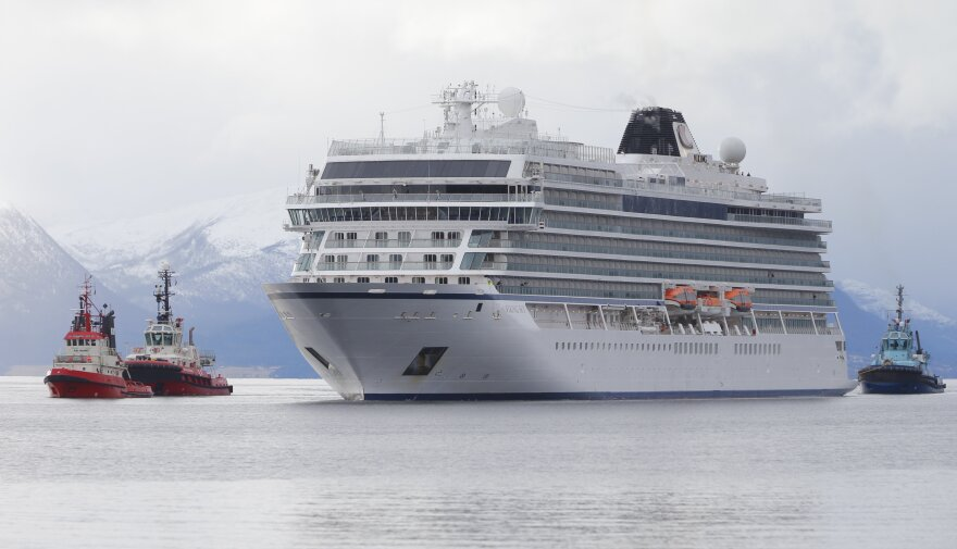 The cruise ship Viking Sky reaches the port of Molde under its own steam on Sunday.