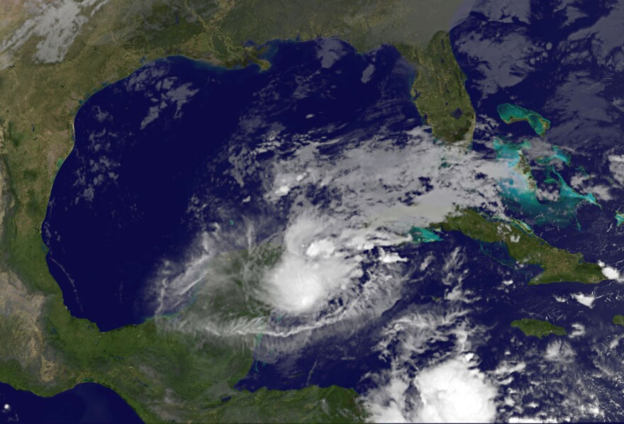 <p>This NOAA GOES East satellite image shows Hurricane Rina over the Yucatan Peninsula of Mexico. </p>