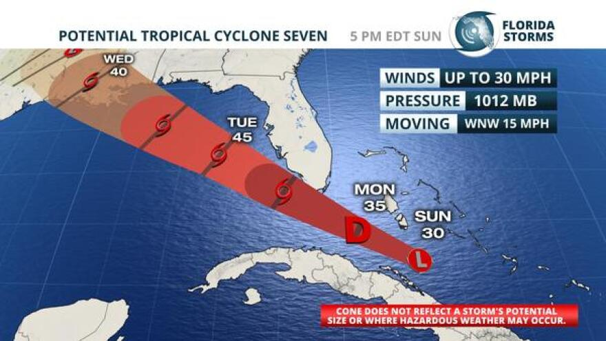 Official forecast track of Potential Tropical Cyclone Seven, per the National Hurricane Center's Sunday 5 pm update.
