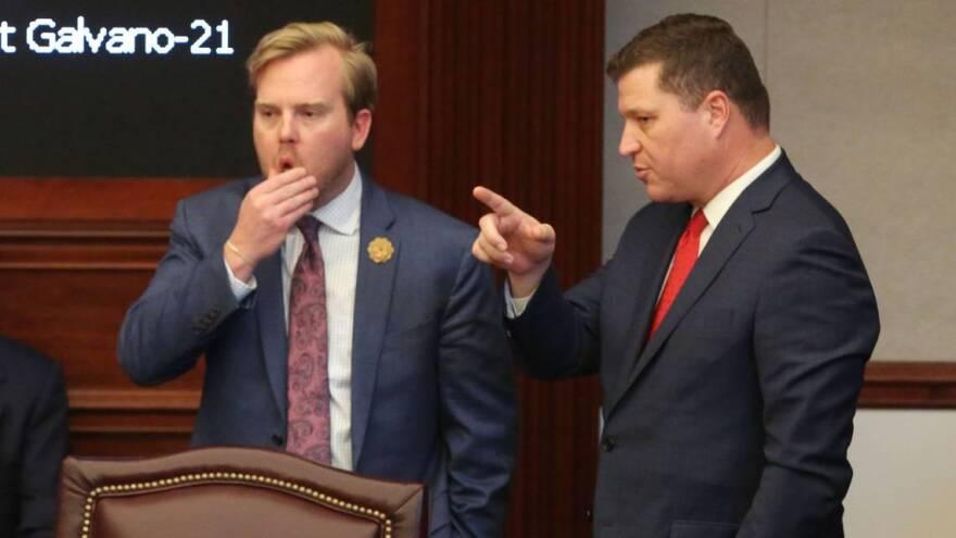 Rep. Jamie Grant, left, and Sen. Jeff Brandes, right, listen to Amendment 4 debate in the Florida Senate last year.