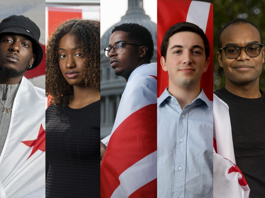 Leaders of the new generation of D.C.'s statehood movement: Ty Hobson-Powell, 25; Demi Stratmon, 22; Jamal Holtz, 22; Noah Wills, 24; and Jamari O'Neal, 21.