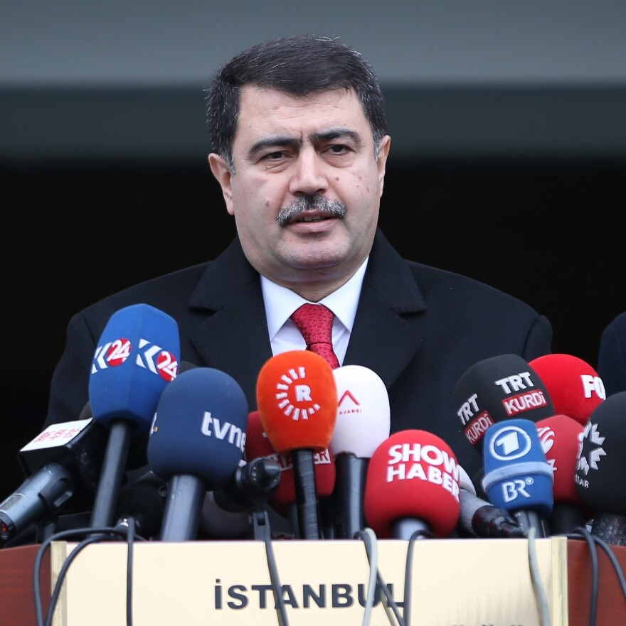 Governor of Istanbul Vasip Sahin at a press conference on the capture of Abdulgadir Masharipov, the main suspect behind the deadly attack on an Istanbul nightclub early on New Year's Day.
