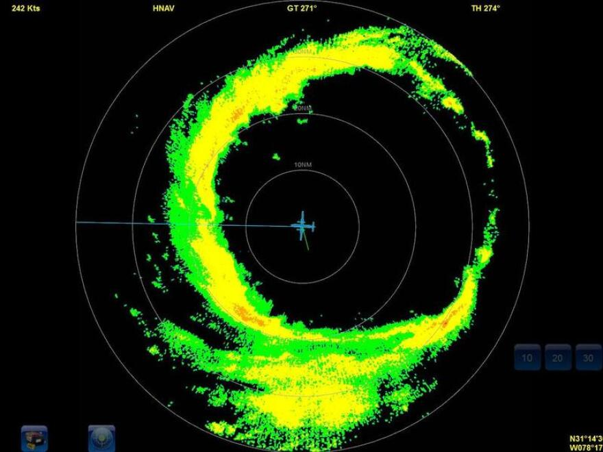 Radar showing thunderstorms around the eye of Hurricane Dorian. USF researchers have found that diabetic seniors living in areas impacted by Hurricanes Katrina and Rita were 40% more likely to die than those in unaffected areas. MIKE MASCARO/NOAA