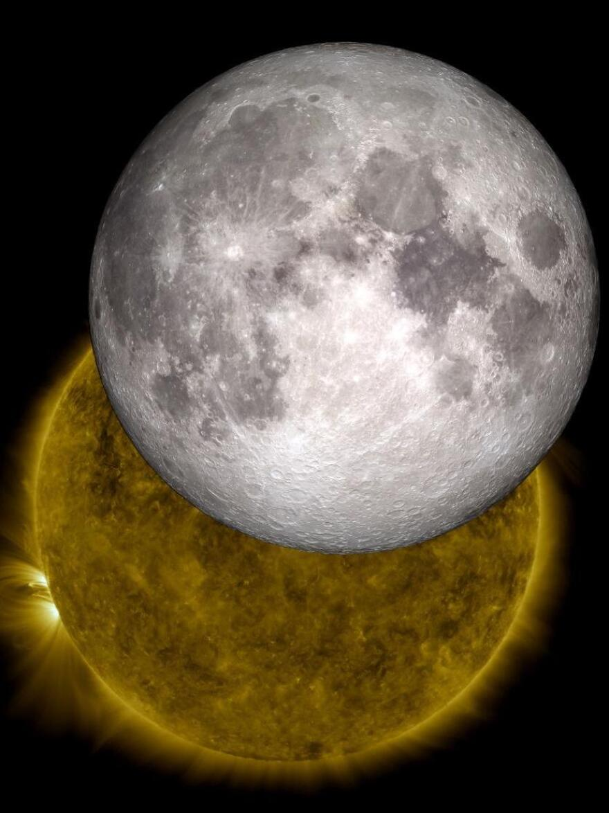 """<strong>Live, from the moon, it's the space weather report:</strong> Data from a lunar orbiter is being used to create a music stream that reflects conditions in space. Here, an image created by NASA """"visualizers"""" who used data from 2010 to show the moon traveling across the sun, as happens two or three times a year."""