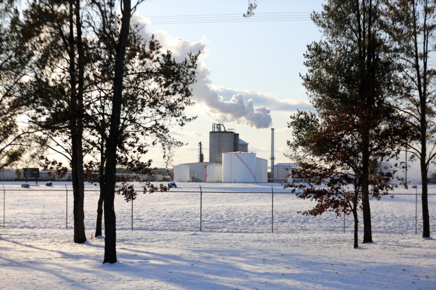 The Marquis Energy plant, which produces ethanol, is located outside Necedah, Wis. Michael Kruchten worked there before he started treatments for lung cancer in 2011.