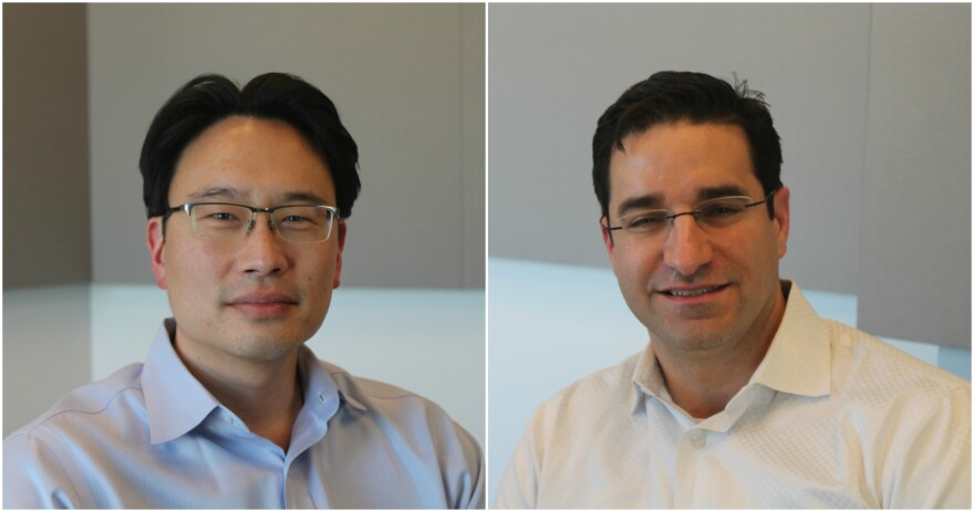 Albert Kim (left) and Eric Leuthardt (right) explore how the brain influences emotions, behaviors and more in their new podcast, Brain Coffee.