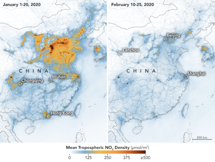 Satellite imagery shows a dramatic decline in smog in China after businesses shutdowm amid the COVID-19 outbreak.